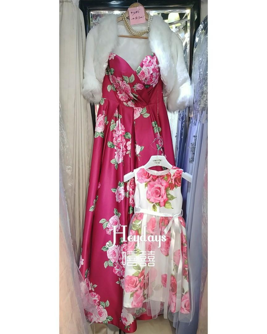 花女親子look 全新童裝印花晚裝紗裙 130碼 new floral print girls gown dress