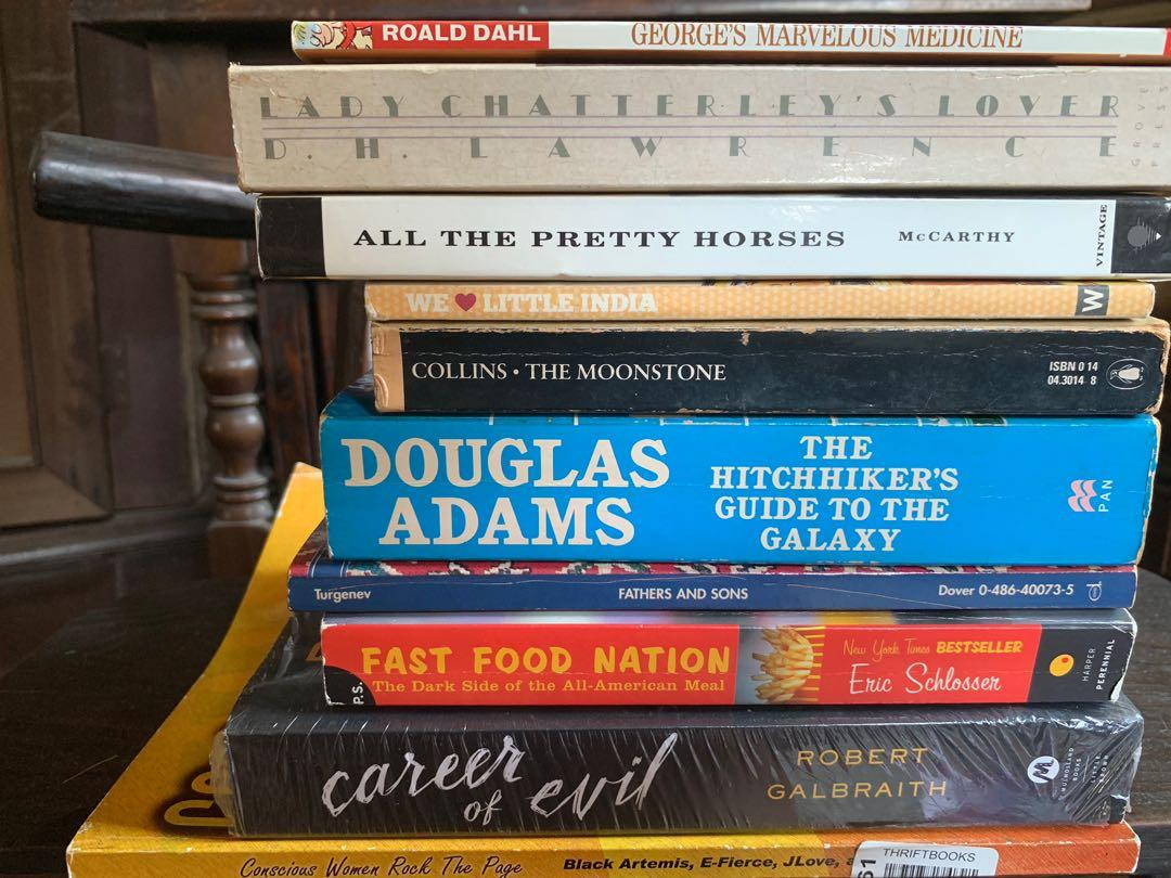 ONE LOT 10 pcs Assorted Fiction Books (DH Lawrence, Roald Dahl, Douglas Adams etc)