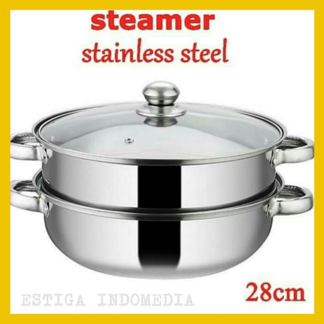 Panci Kukus Susun 2 Stainless Steel Multi Fungsi
