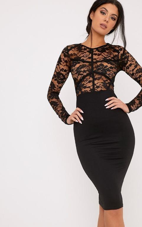 PrettyLittleThing Aspen Black Sheer Lace Contrast Midi Dress