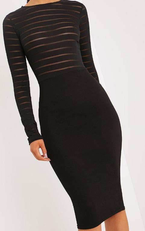 PrettyLittleThing Haley Black Burn Out Mesh Midi Dress