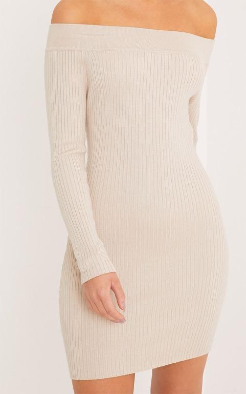 PrettyLittleThing Lidia Stone Fine Rib Bardot Knitted Dress