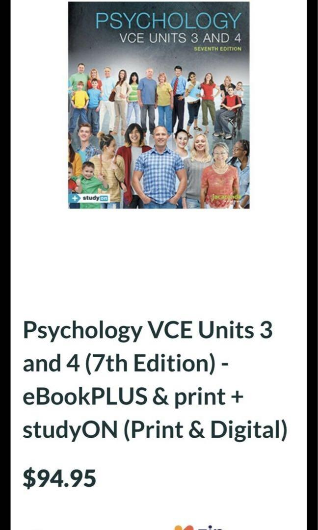 Psychology VCE Units 3 and 4 (7th Edition) - eBookPLUS   studyON