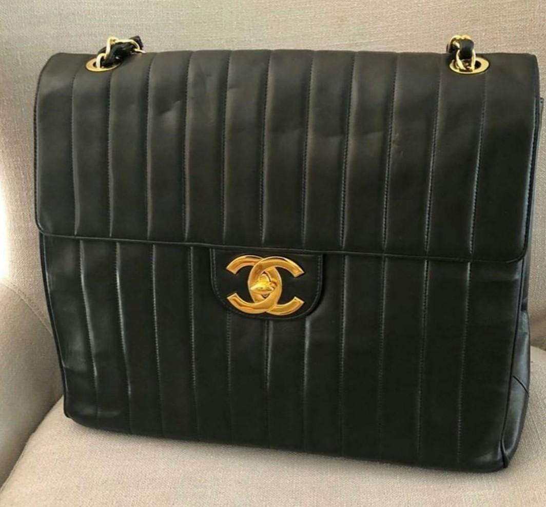 RARE Authentic chanel oversized jumbo travel black bag