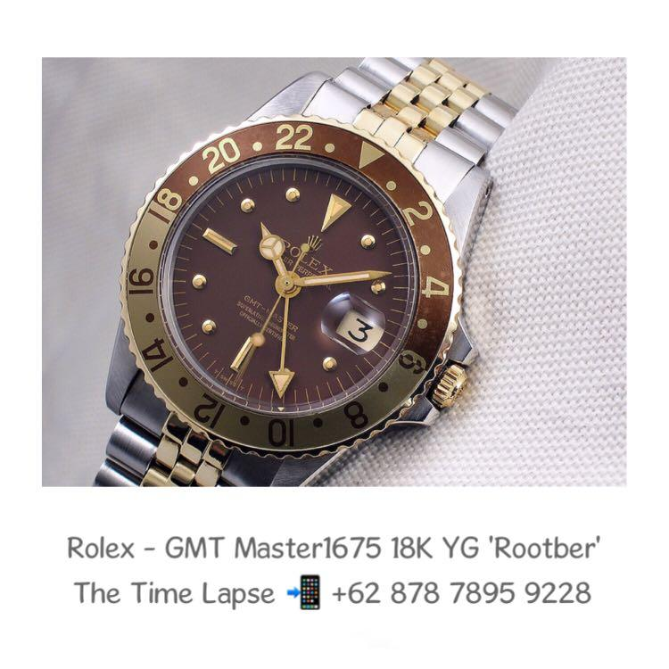 Rolex - GMT Master 1675, Steel & 18K Yellow Gold Nipple Dial 'Rootber'