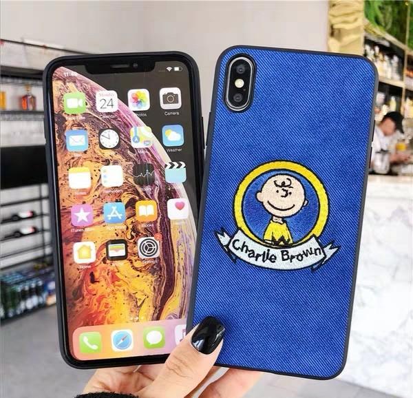 Snoopy史努比系列仿布紋刺繡iPhone手機殼蘋果手機硬殼