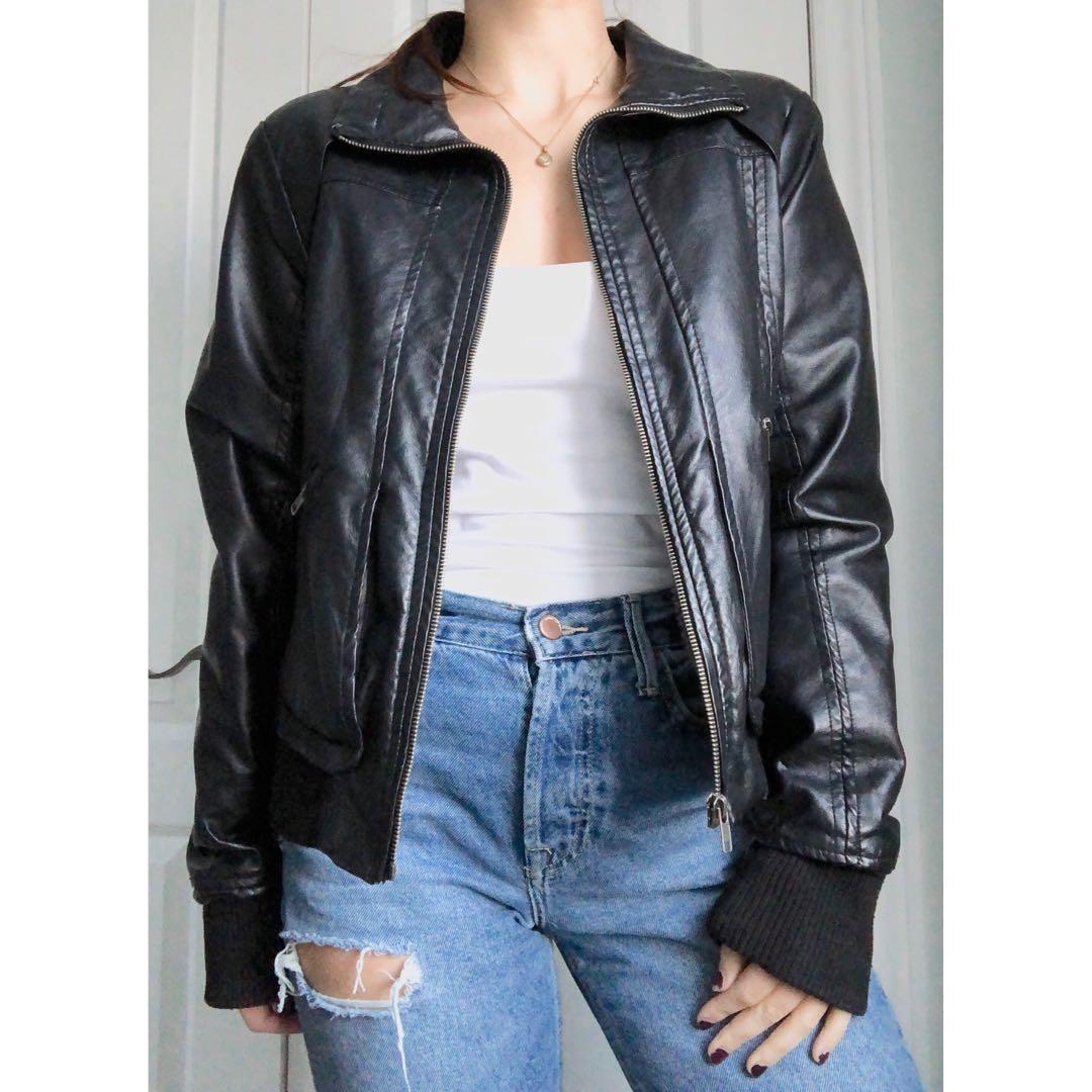 Vegan Faux Leather Fleece Lined Jacket