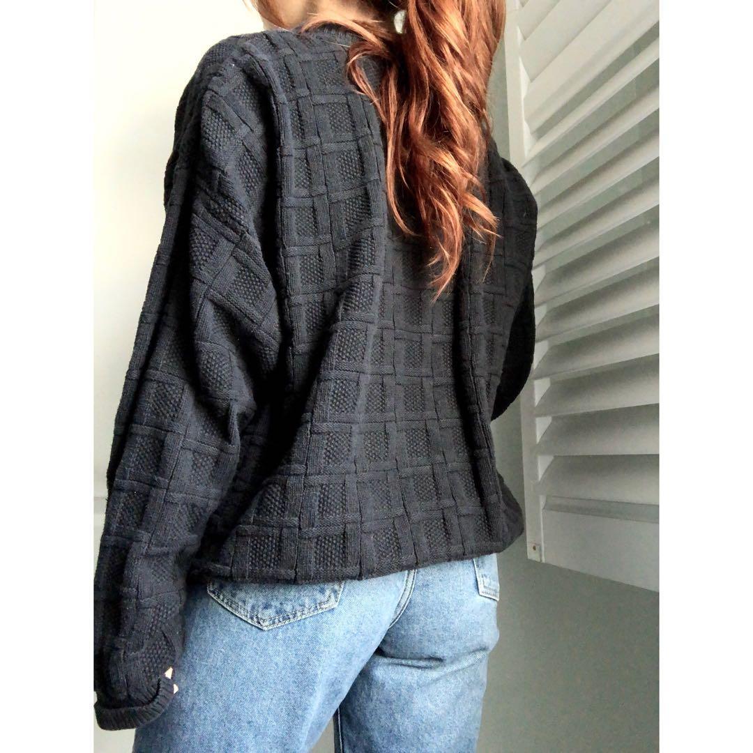Vintage Oversized Chunky Basket-Weave Sweater