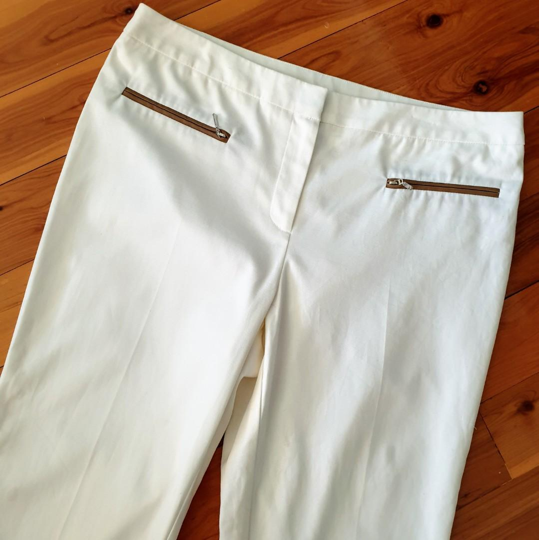 Women's size 12 'SUZANNE GRAE' Gorgeous white 3/4 trouser pants with zip detail - AS NEW