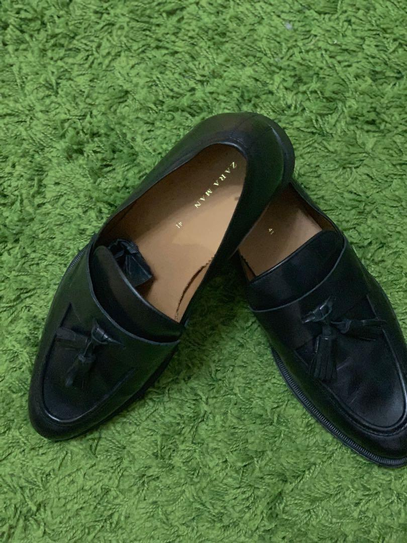 ZARA black tassle loafers