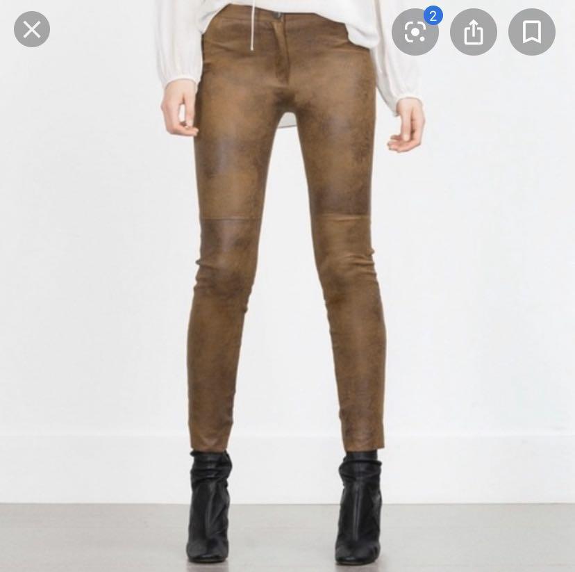 Zara faux camel suede leggings w button fly - Sz S