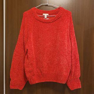 超正紅色 兔絨毛 長袖 毛衣