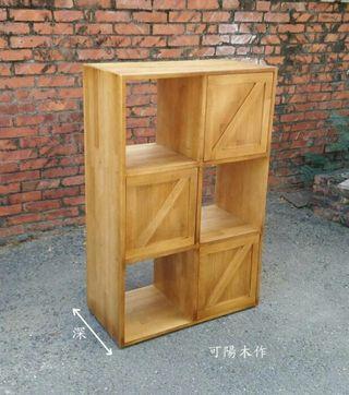 【可陽木作】原木工業風六格三門櫃(柚木色) / 櫥櫃 玄關櫃 置物櫃 收納櫃 書櫃 鞋櫃