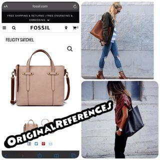 PO.3-5hari. Fossil bag. Size 32x10x25cm.(LIMITED STOCK). Fossil seri Felicity  leather tote bag. 4 Warna.
