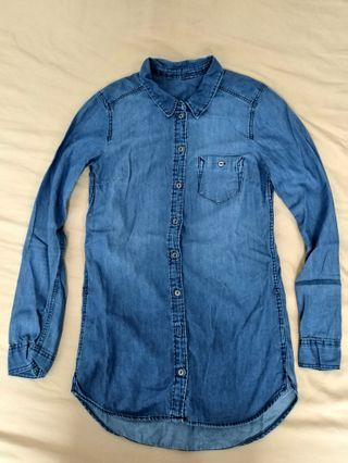 Denim long chambray shirt #1111