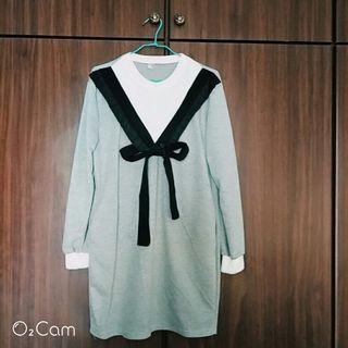 蝴蝶結俏皮又減齡《全新》蝴蝶結假2件洋裝  #剁手時尚