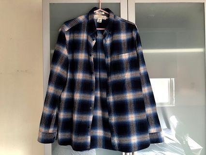 H&M 男裝 白藍紅格紋法蘭絨重磅襯衫 鈕扣領 M號 二手美品