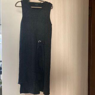 (已保留@dew5885 )正韓 長版背心洋裝 毛料 溫暖有彈性