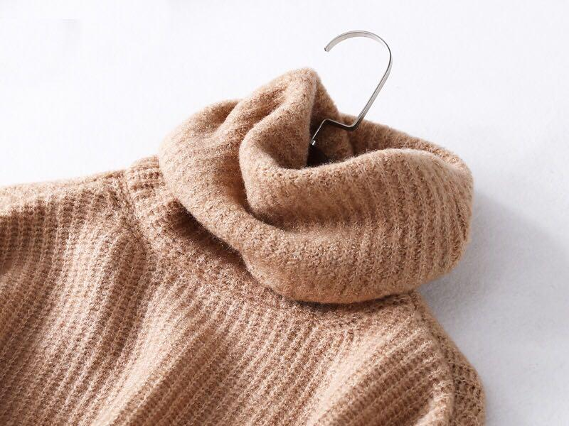 OshareGirl 11 歐美18色女士高領反摺針織毛衣堆領寬鬆版(第17號色近拍)