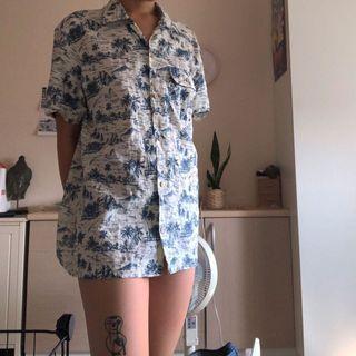 古著 夏威夷棉質襯衫 度假 藍色