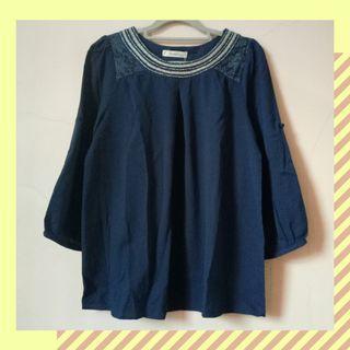 #1111special blouse lengan panjang muslim atasan wanita import biru navy