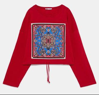 Zara red ethnic oversized sweater #1111special