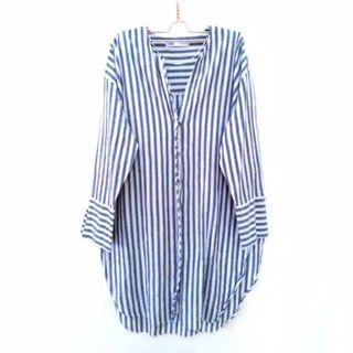 Zara blue goldie boho long tunic blouse #1111special