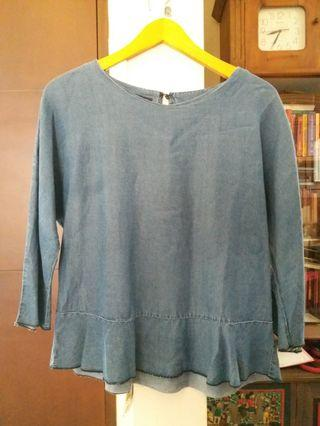 Zara blue denim flare blouse #1111special