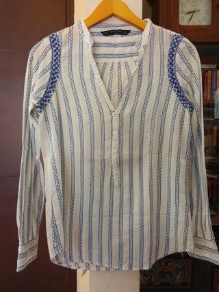 Zara blue stripe embroidered boho blouse #1111special