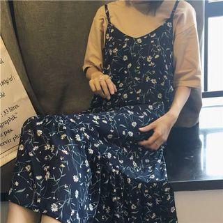 深藍 碎花 雪紡紗 吊帶裙 長裙 連身裙 洋裝 文青 氣質 one-piece dress