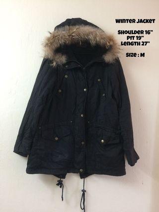 Winter Jacket With Hoodie Black color