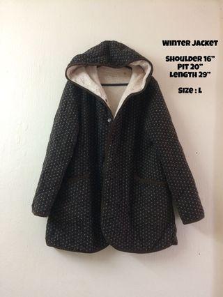 Winter Jacket With Hoodie Dark Brown