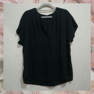 #1111special perforated black blouse atasan wanita hitam kantor import preloved