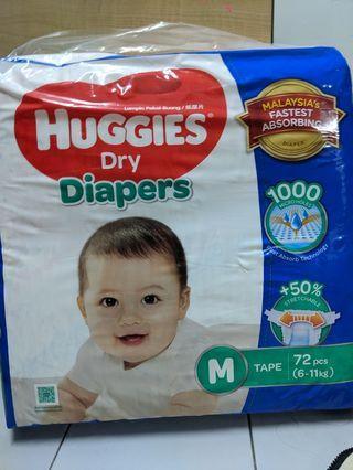 Huggies Dry Diapers (72pcs) size M