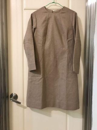 寬鬆毛料駝色削肩古著洋裝手工訂製