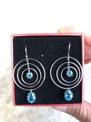 店頭貨 收藏品 14k/585 托帕石造型耳環