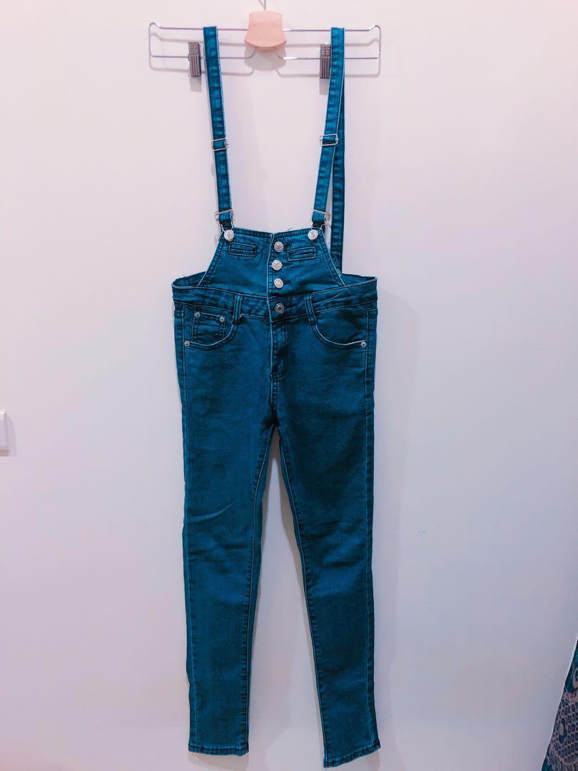 彈性牛仔吊帶褲#剁手時尚