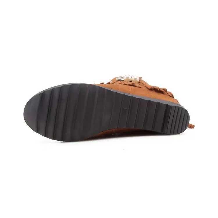 流蘇靴女短靴磨砂平底內增高女靴拉鍊坡跟靴 1.米白色 2.咖啡色 3.黑色 4.紅色