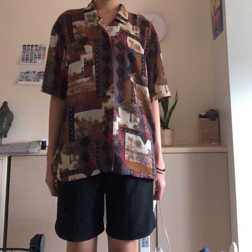 !珍藏! 日本古著 絲質古典油畫襯衫