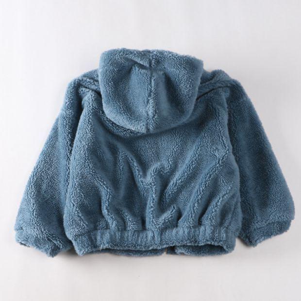 羊毛絨💜日系毛毛拉鍊外套 Japan wool fur hoodie zipped jacket white blue coat