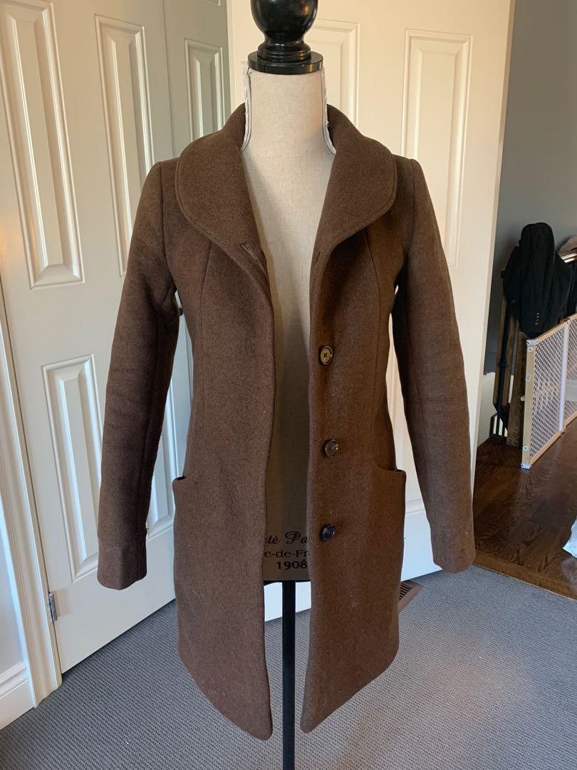 Aritizia's Wilfred Cocoon Peacoat in Brown  and XXS for $200
