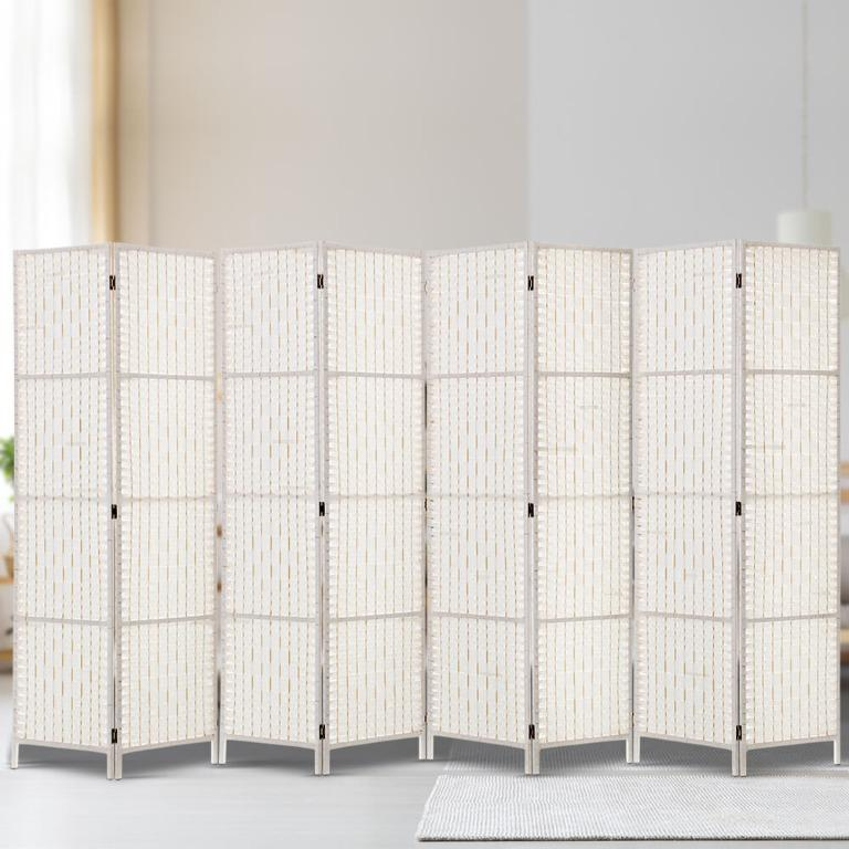 Artiss 8 Panels Room Divider Screen Privacy Rattan Timber Fold Woven Stand White