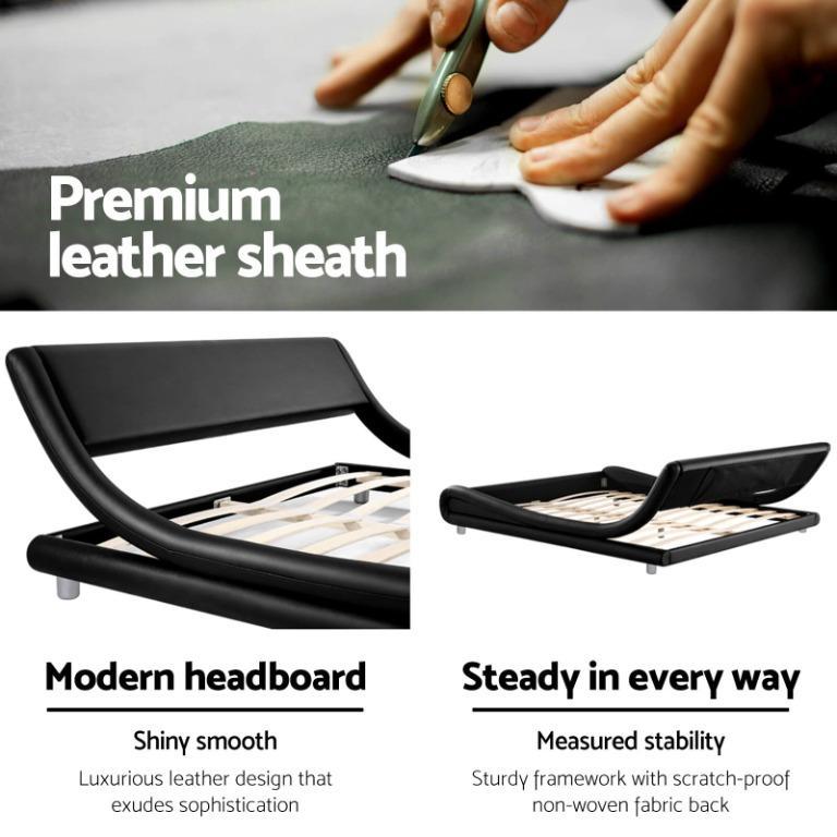 Artiss Double Size Bed Frame Base Mattress Platform Black Leather Wooden FLIO