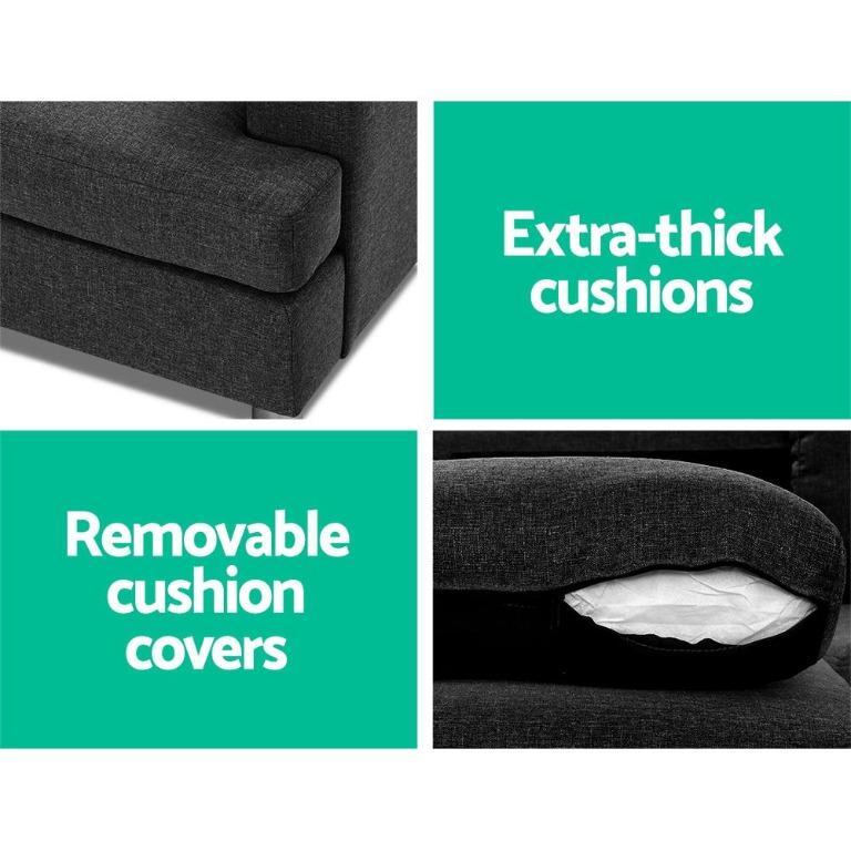 Artiss Sofa Lounge Set Couch Futon Corner Chaise Fabric 4 Seater Suite Dark Grey
