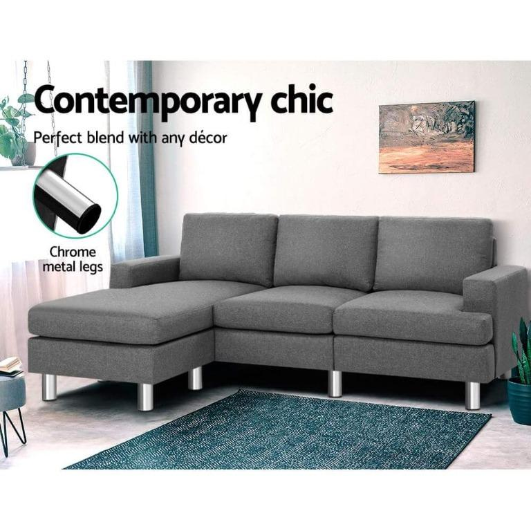 Artiss Sofa Lounge Set Couch Futon Corner Chaise Fabric 4 Seater Suite Grey