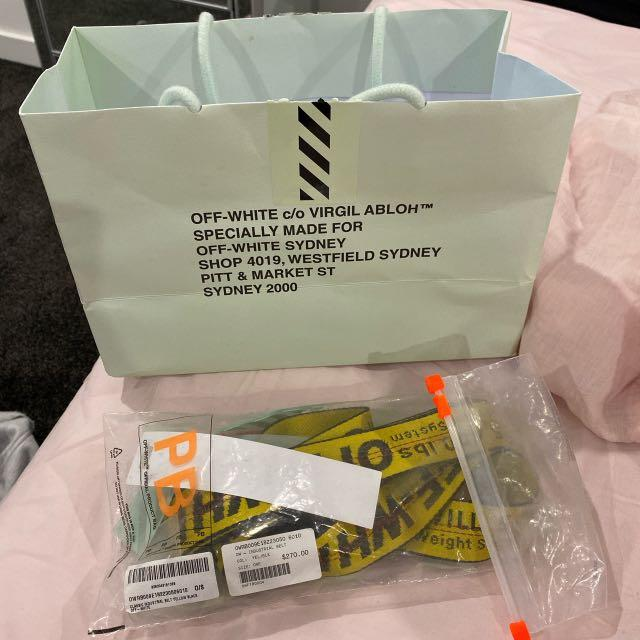 Authentic off-white classic industrial belt yellow and black worn once in perfect condition includes shopping bag