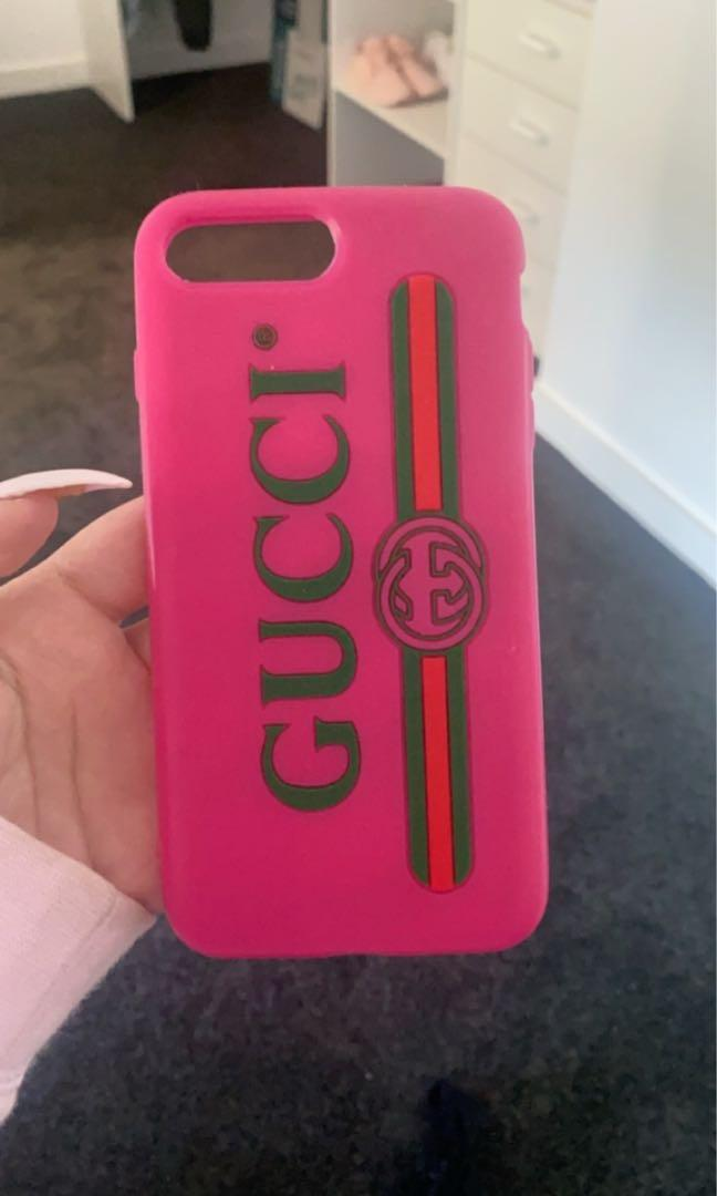 Authentic Pink rubber Gucci logo iPhone 7/8 plus case in new condition includes bag