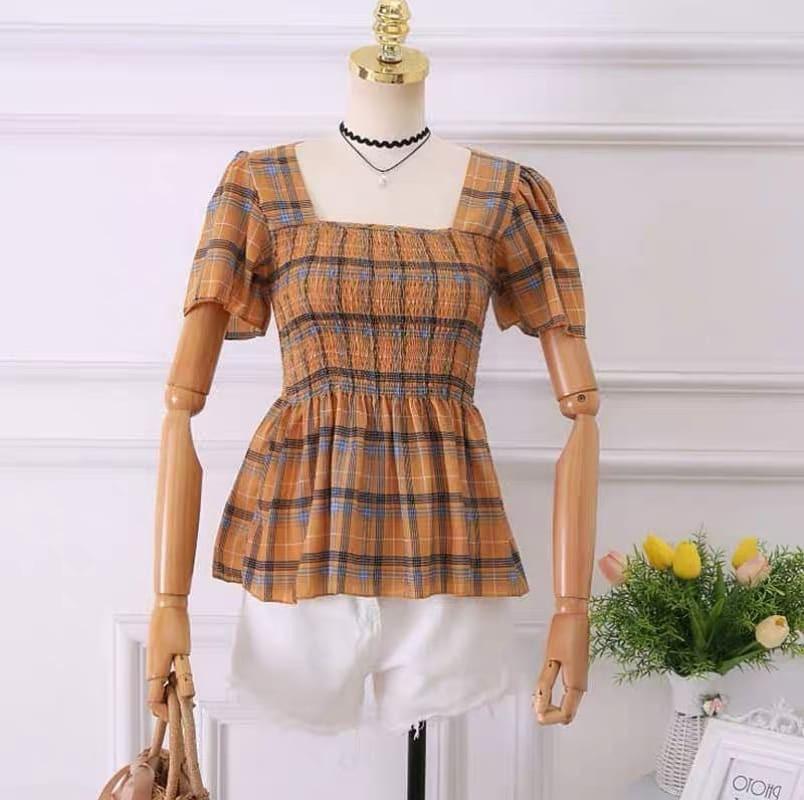 Babydoll blouse kotak blouse korea blouse katun import blouse pantai