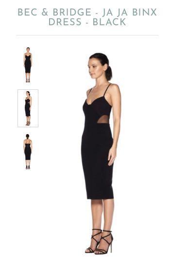 BEC & BRIDGE PRE-LOVED Mesh Bodycon Black Dress size 6 AU (RRP: $240)