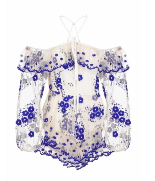 BNWOT ALICE MCCALL NUDE & BLUE GIRL LIKE YOU PLAYSUIT - SIZE 8 AU/4 US (RRP $450)